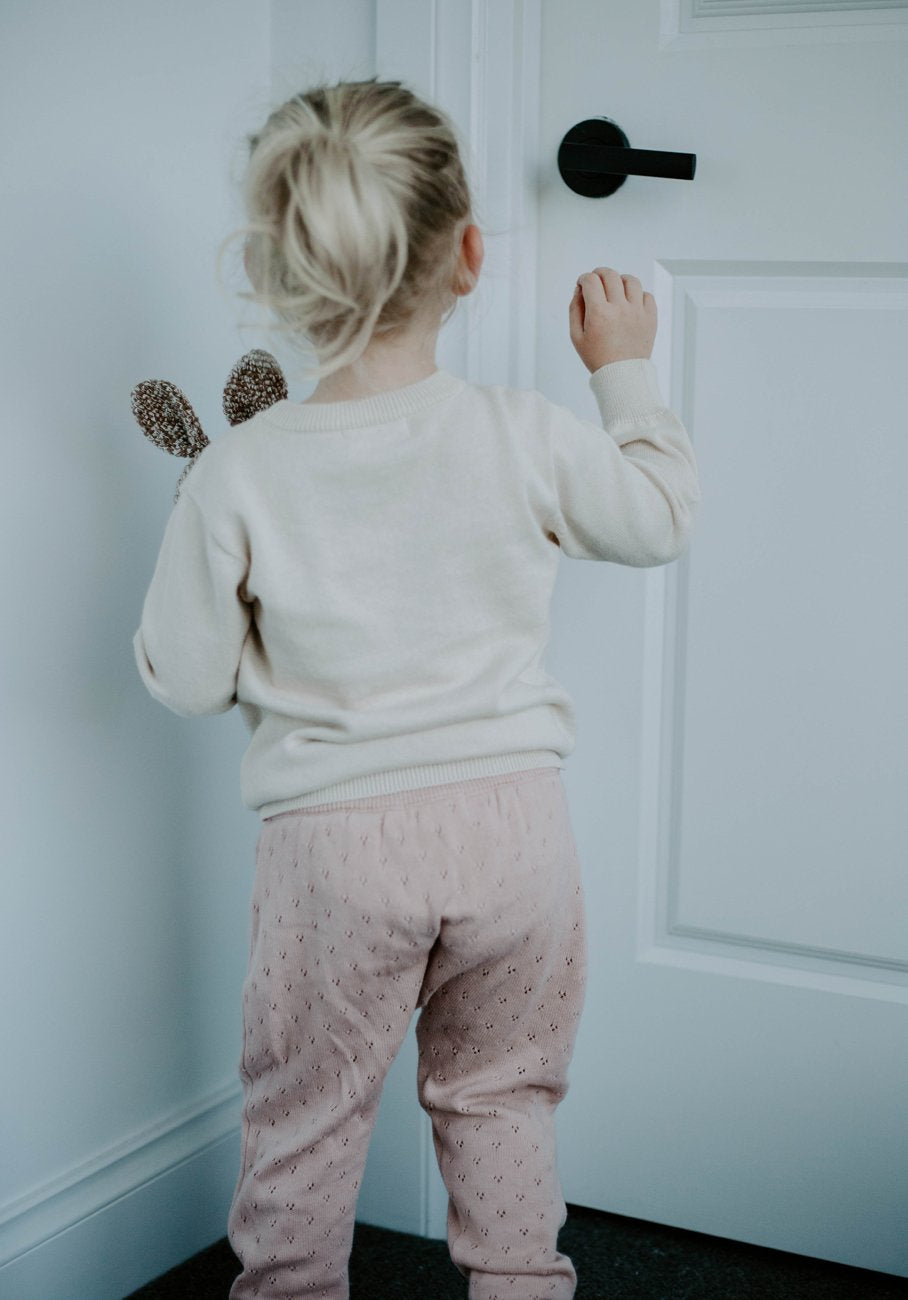 Miann & Co Kids - Knit Pointelle Legging - Silver Peony