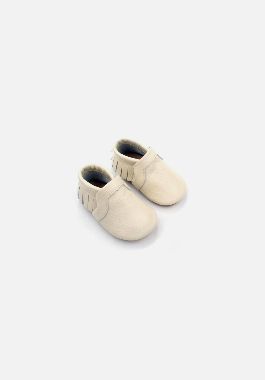 Cream Fringe Moccasin Pre-Walker - MIANN & CO