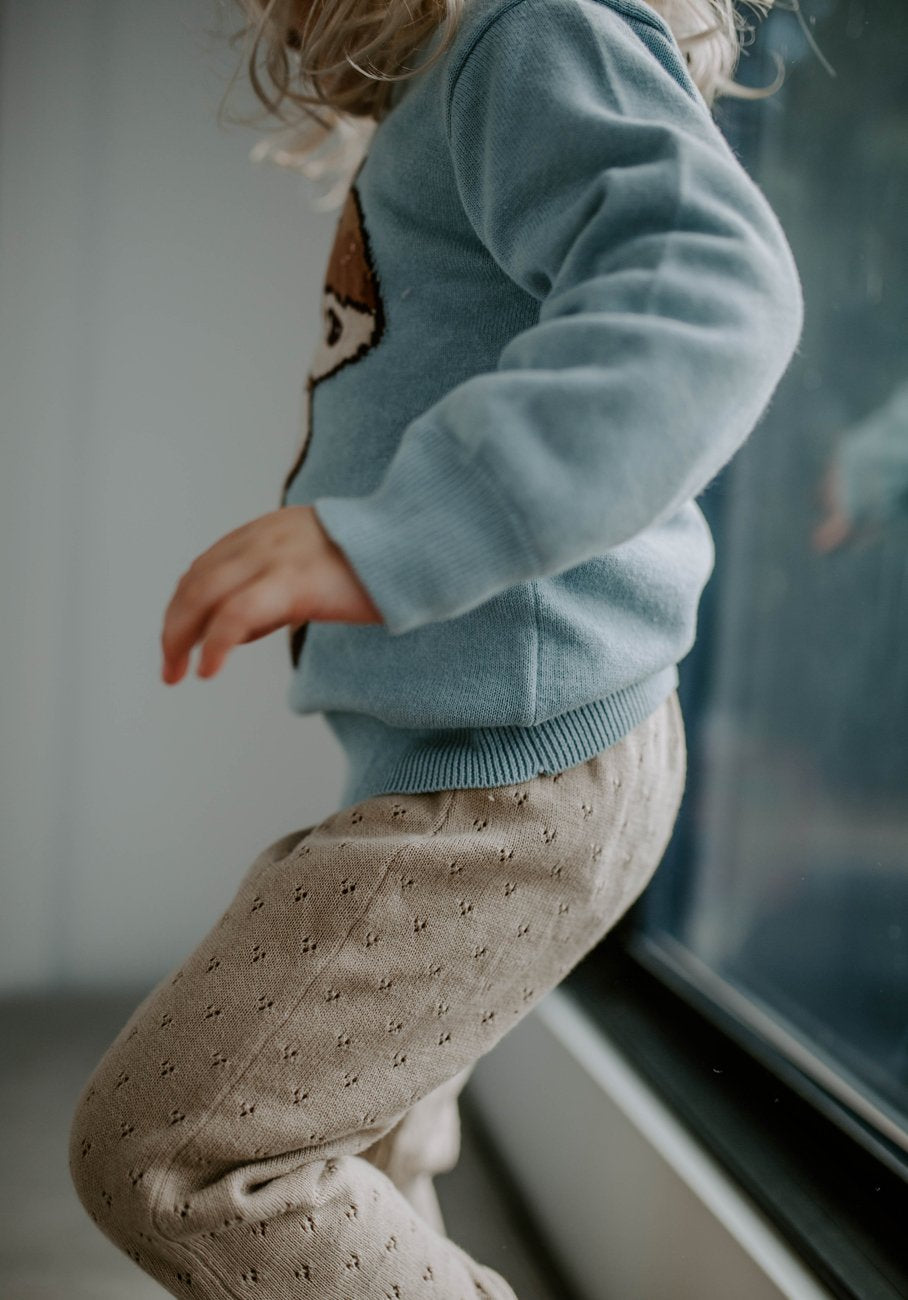 kids Beige knit legging