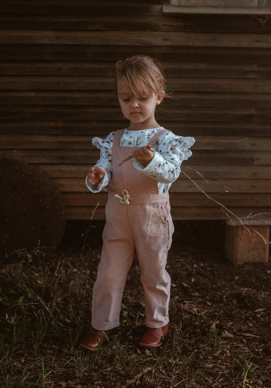 kids pink cord overalls