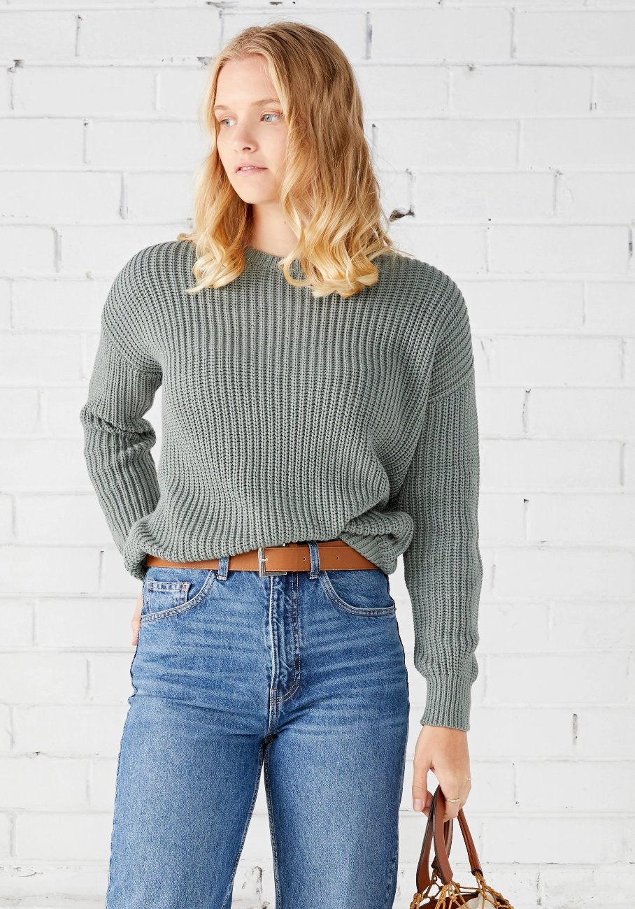 Miann & Co Womens - Margot Rib Jumper - Sage