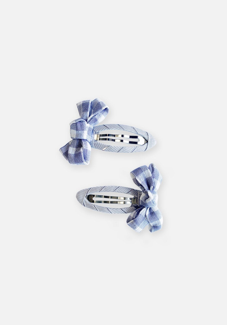 Small Bow Hair Clip - Silver Gingham