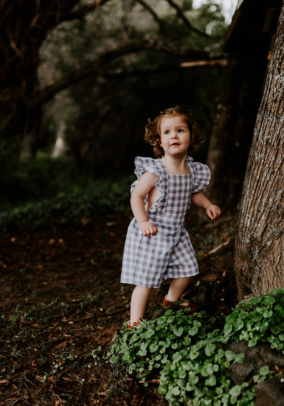 kids - frill short overalls in lavender gingham