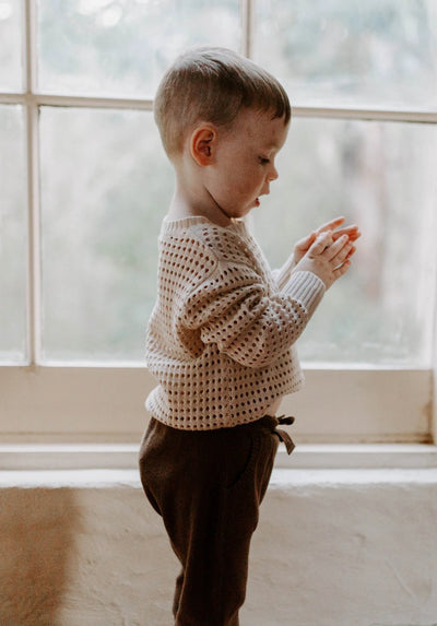 MIANN & CO - kids - knit pant in portabello