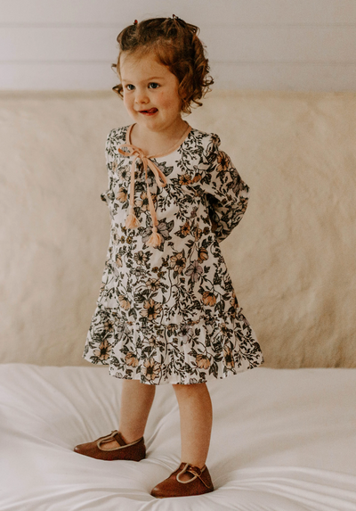 kids - long sleeve dress in white floral