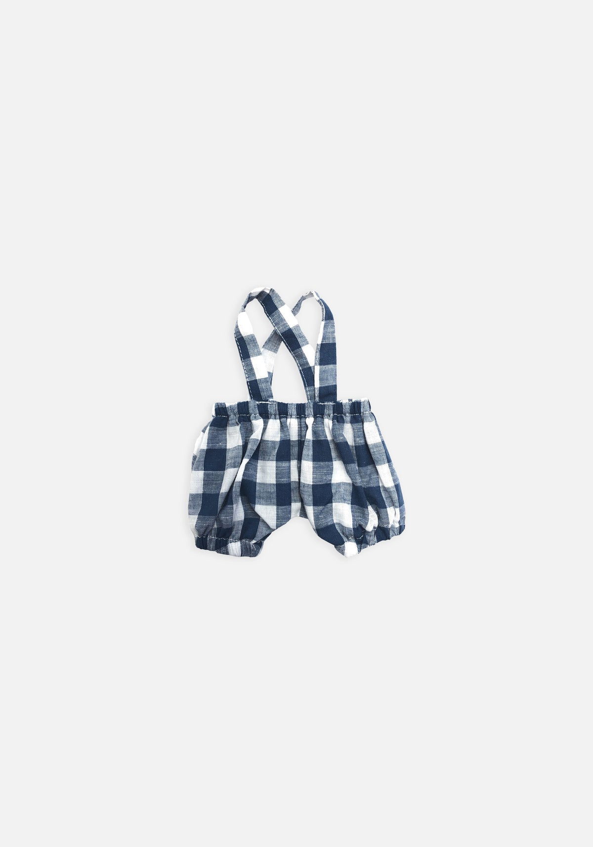 Large Softie Outfit - Navy Gingham Overalls - MIANN & CO