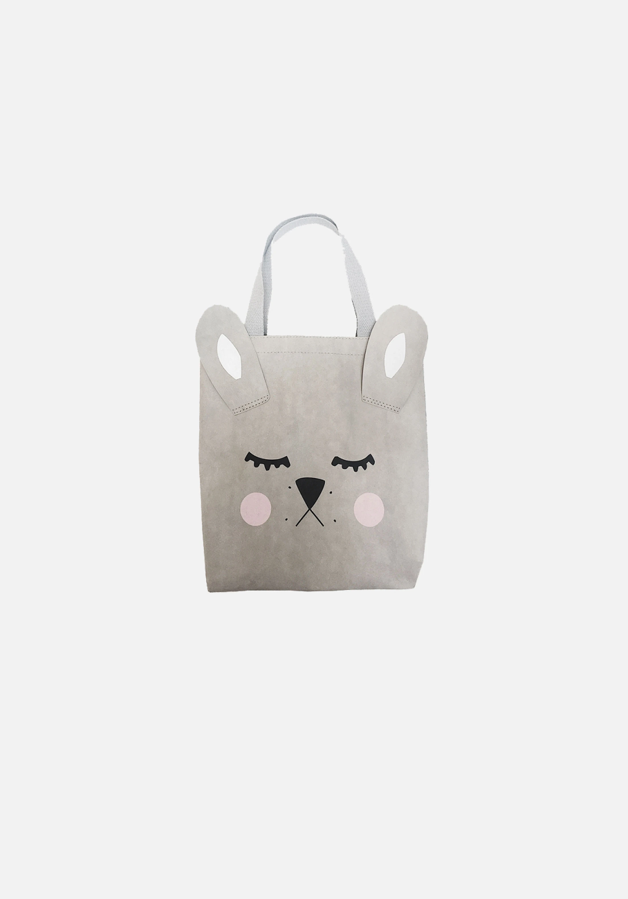 Grey Bunny Washable Paper Tote Bag - MIANN & CO