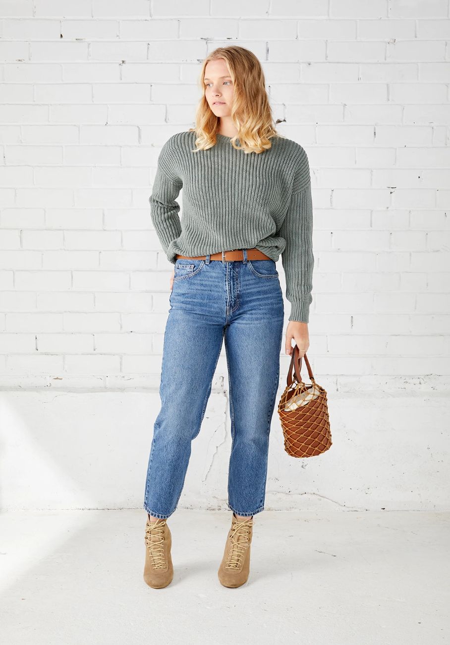Margot Rib Jumper - Sage - MIANN & CO