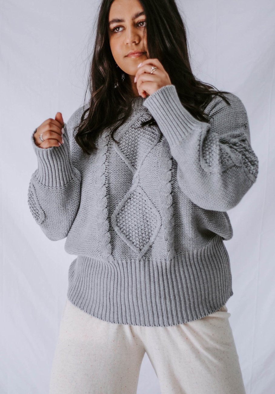 Miann & Co Womens - Marigold Cable Knit Jumper - Slate Grey
