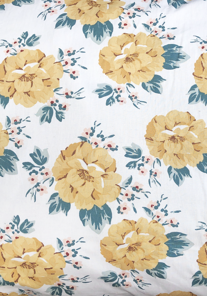 Miann & Co Single Fitted Sheet - Mustard Floral
