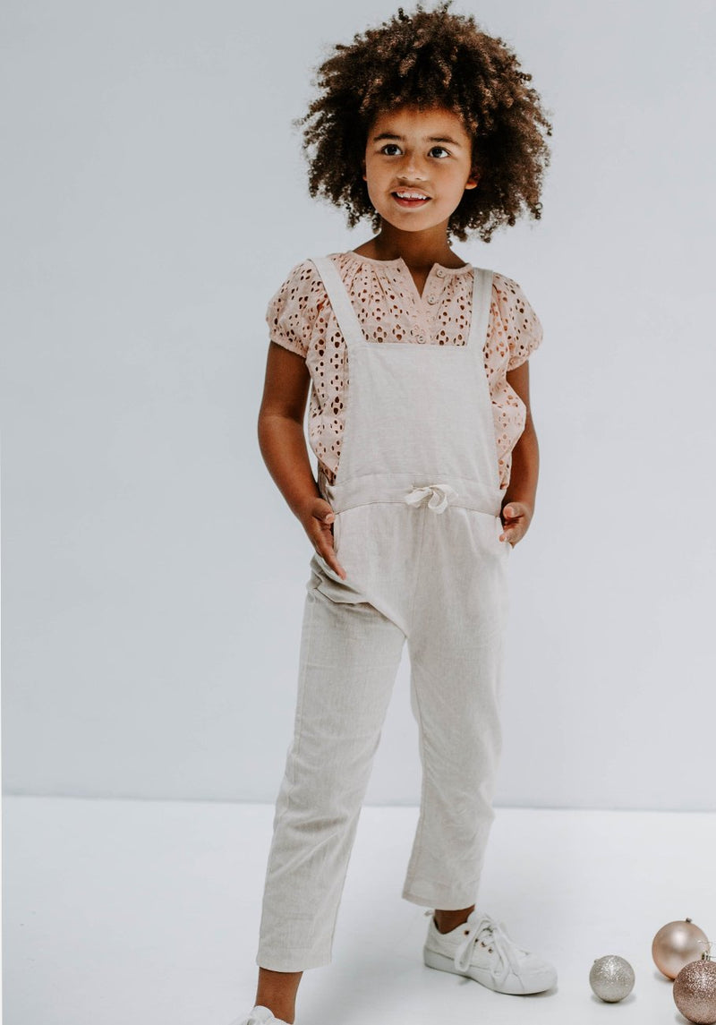 Miann & Co Kids - Cross Back Overalls - Natural Linen