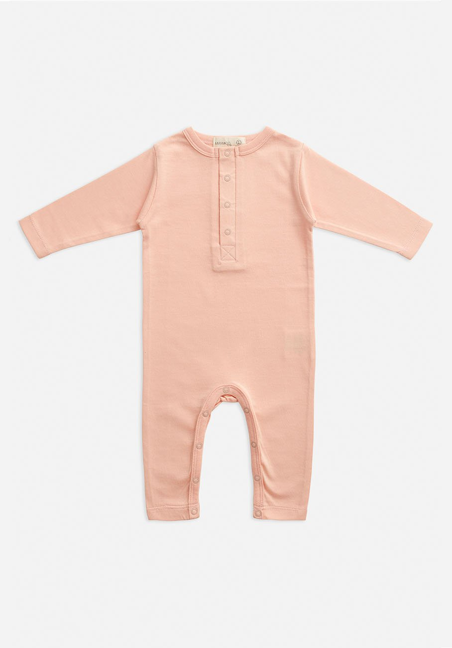 Miann & Co Baby - Organic Baby Cotton Basics - Full Sleeve Jumpsuit - Evening Sand