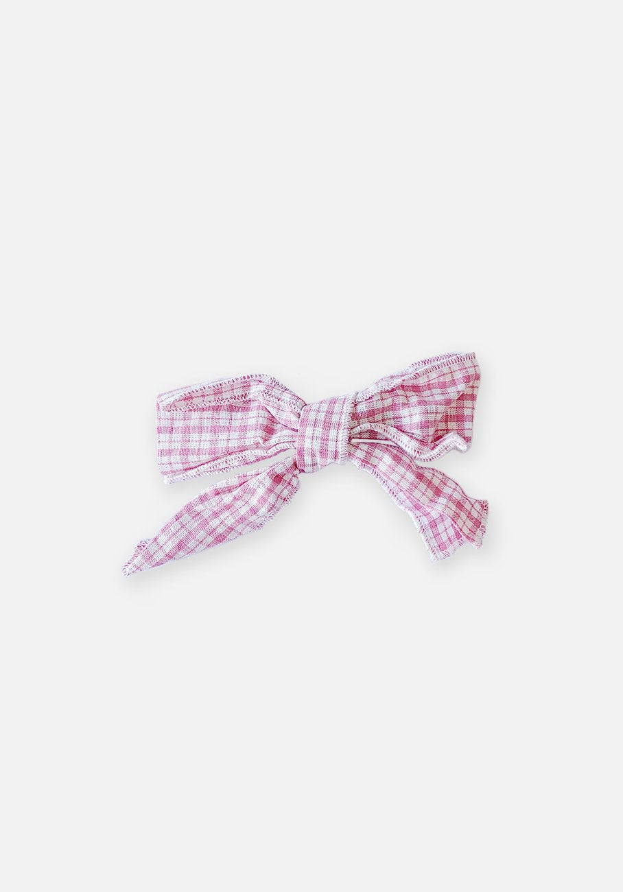 Large Bow Clip - Plaid Pink