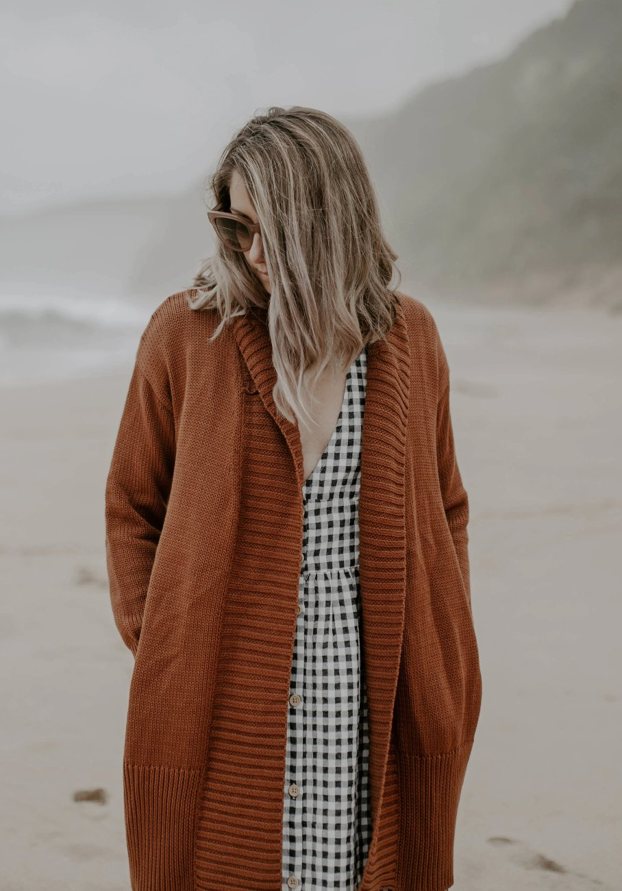 Womens rust knit cardigan