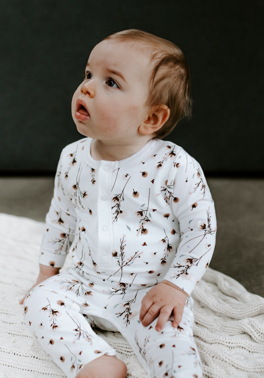 Miann & Co Baby - Long Sleeve Jumpsuit - Snow Blossom