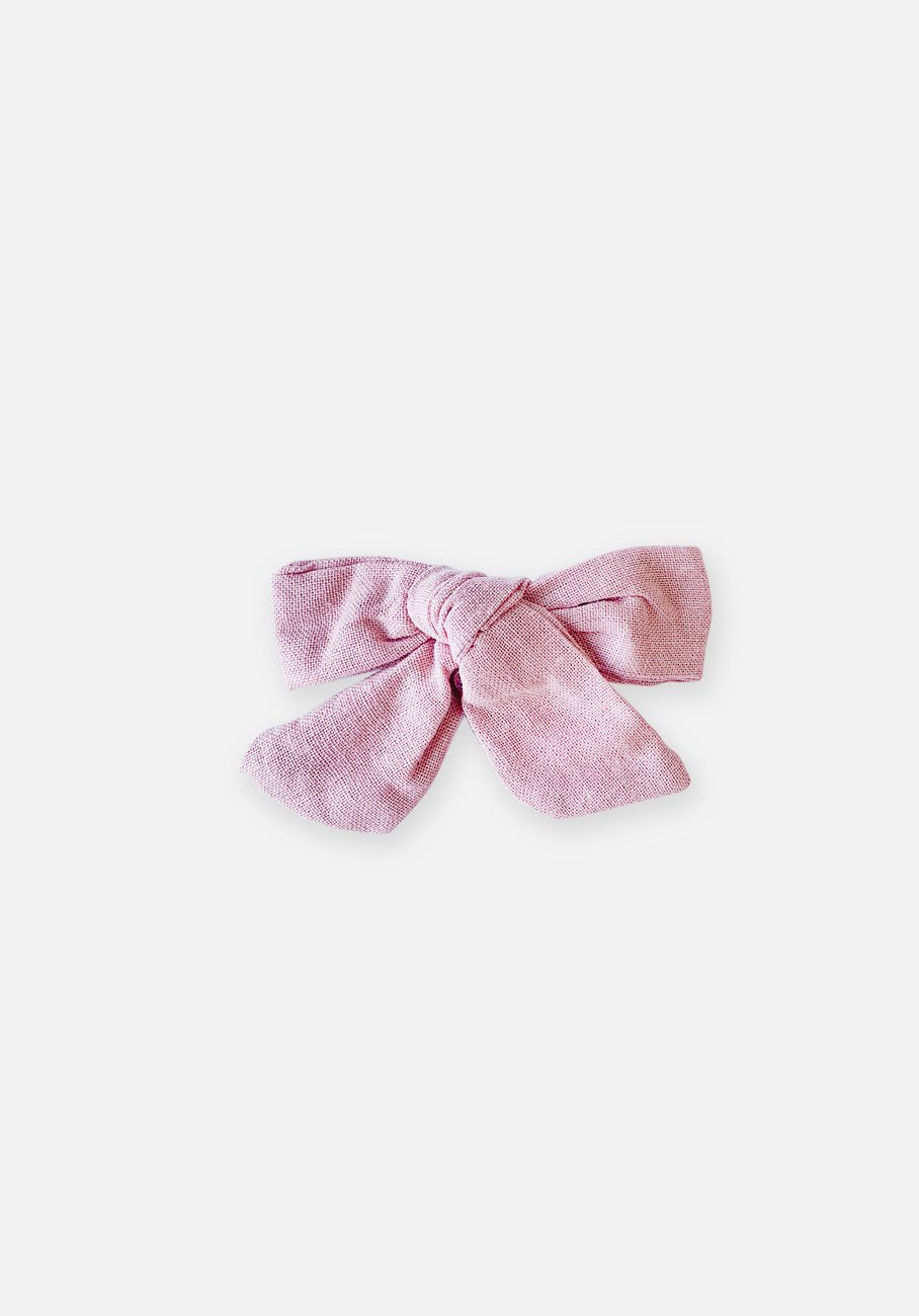 Large Bow Clip - Textured Pink
