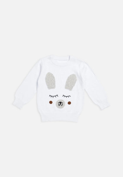 Miann & Co Baby Jumper - White bunny rabbit - MIANN & CO