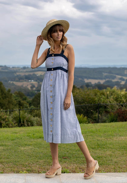Womens Dresses - Zoe Dress - Navy Stripe