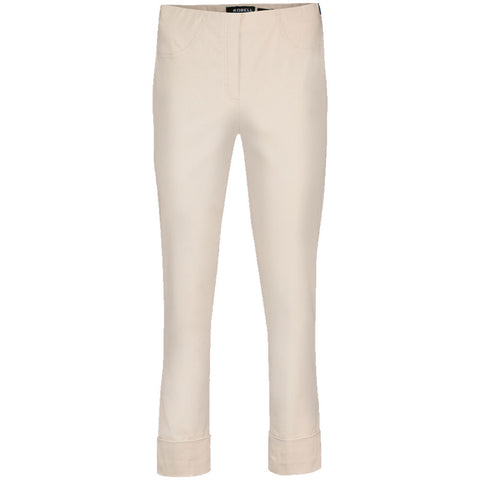 Bella 09, Turn up Trousers, Cream -Robell