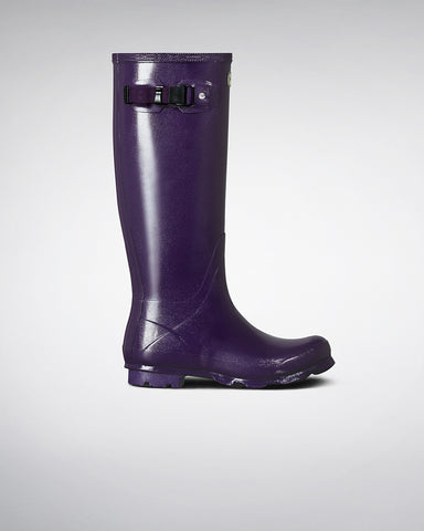 Women's Norris Field Gloss Wellington Boots, DARK IRIS - HUNTER