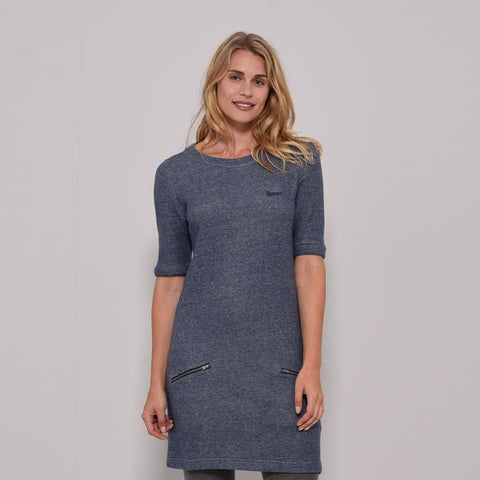 French Terry Dress, Blue - Brakeburn