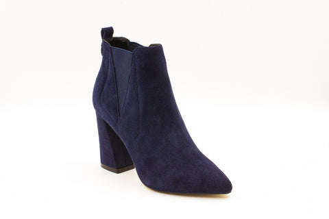 Becky Suede Pointed Ankle Boot with Block Heel, Blue