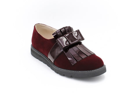Freya Fringed Loafer Shoe, Burgundy