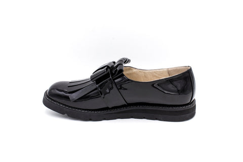 Freya Fringed Loafer Shoe, Black
