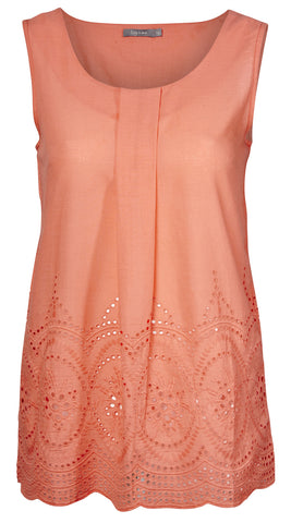 Penryn Long Line Vest with Plain Embroidery - Coral