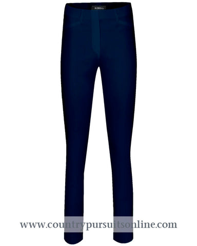 ROSE - NAVY Bengaline Stretch - ROBELL TROUSERS