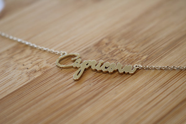 Cursive Astrology Sign Necklace