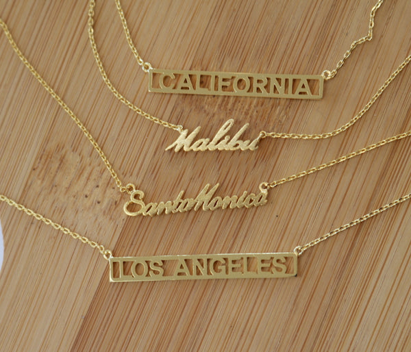 Gold Los Angeles Block Pendant Necklace