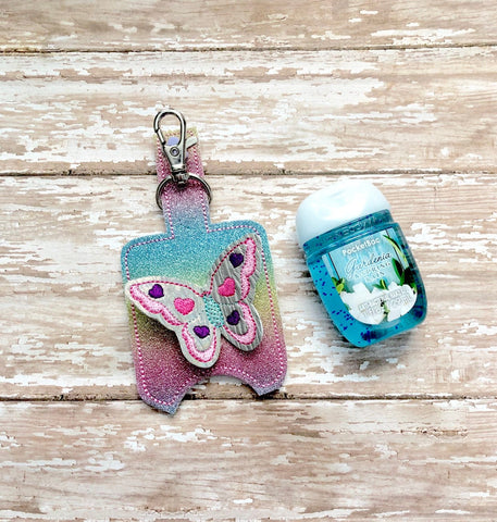 Butterfly Hand Sanitizer Holder, Hand Sanitizer Keeper, Hand Sanitizer Holder, Hand Sanitizer Keychain  --- you choose from 70 Colors