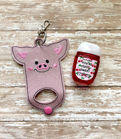 Pig Hand Sanitizer Holder, Hand Sanitizer Keeper, Hand Sanitizer Holder, Hand Sanitizer Keychain  --- you choose from 70 Colors