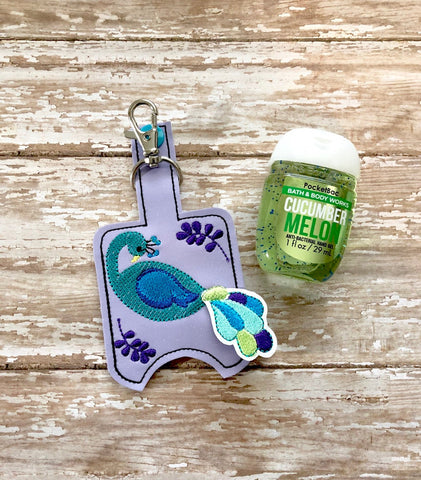 Peacock Hand Sanitizer Holder, Hand Sanitizer Keeper, Hand Sanitizer Holder, Hand Sanitizer Keychain  --- you choose from 70 Colors