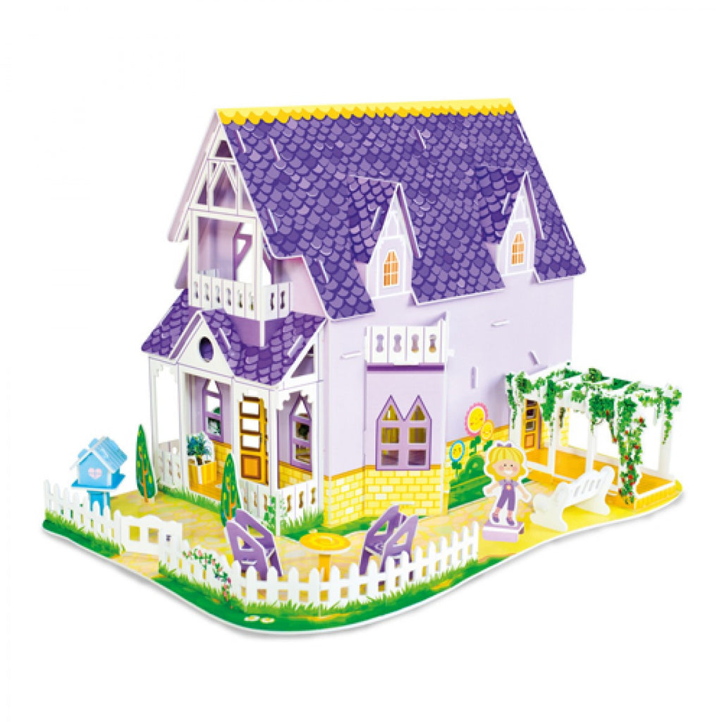pretty purple doll house 3d puzzle