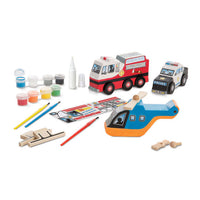decorate your own wooden rescue vehicles set