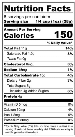 SAC 8oz NUTRITIONAL LABEL