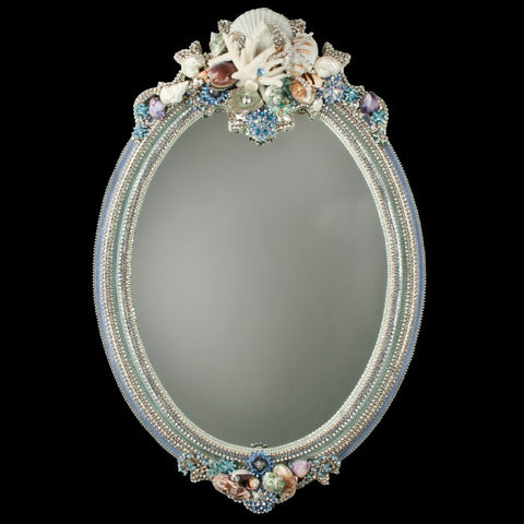 Mirror Swarovski Crystal with Shells Oval