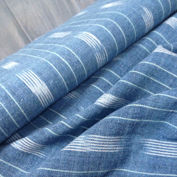 Chambray Broken Stripe Ethically Sourced Ikat Fabric