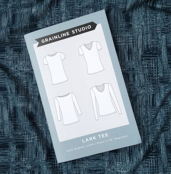 Grainline Studio Lark Tee with Art gallery fabrics Aged Allure Washed Knit
