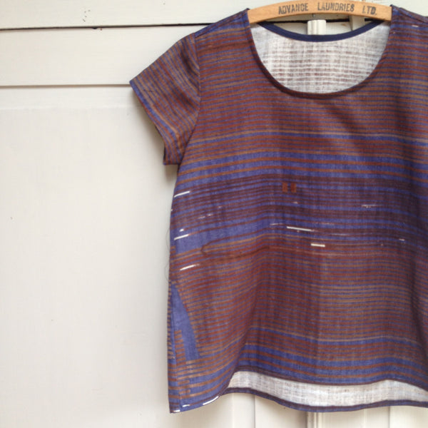 Scout Tee Sewing Pattern by Grainline Studio in nani IRO's Saaaa Saar Rondo