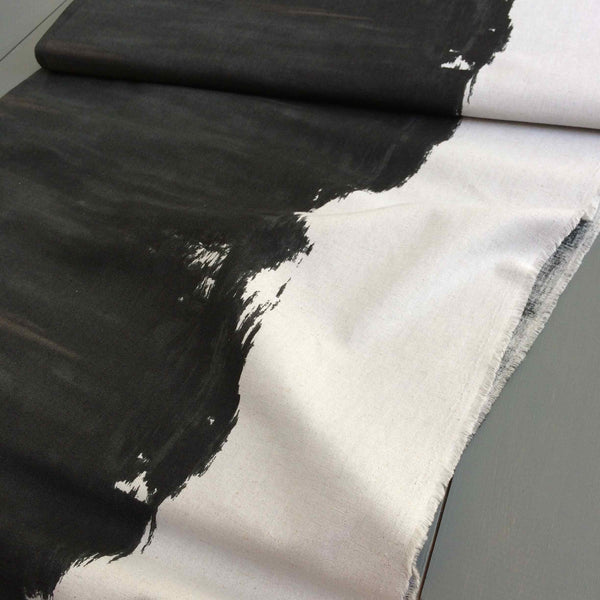 Kokka Fabrics Brush Paint Gray & Black