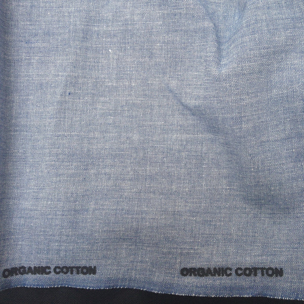 100% Organic Cotton Crossweave in Mid Blue | The Draper's Daughter