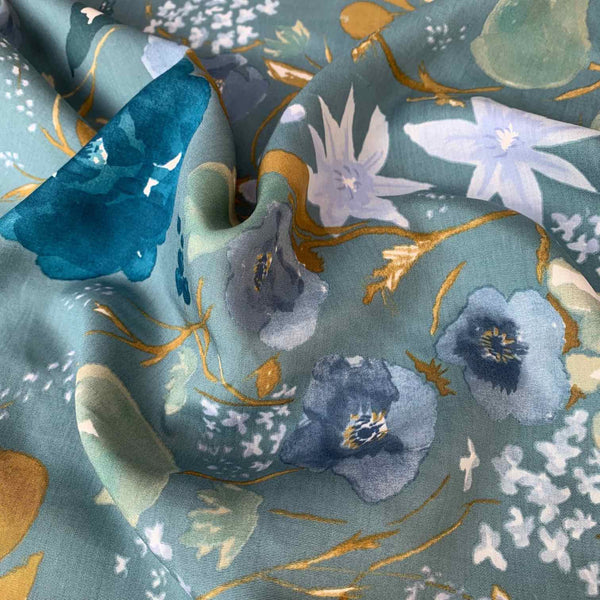 Nani Iro Fuccra on Blue tencel Sewing Fabric