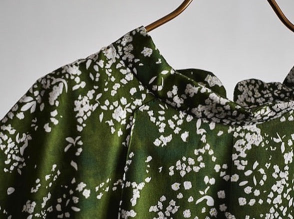 Nani Iro Lei Nani Green Cotton Sateen Fabric 2019 Collection