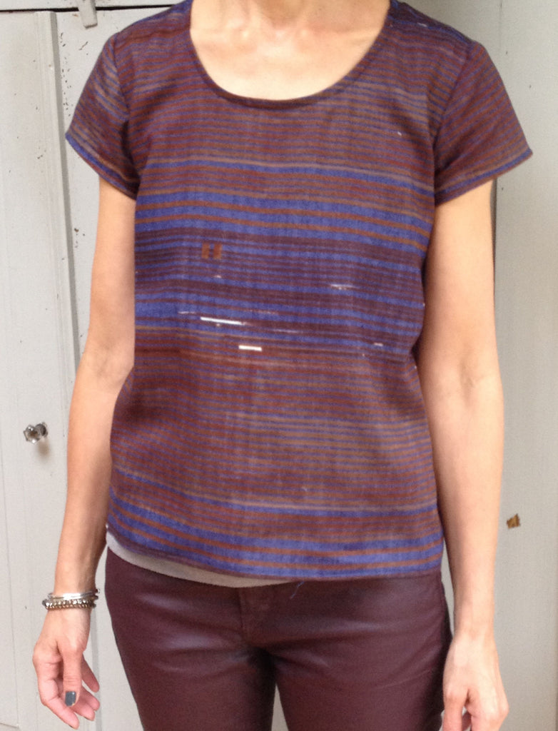 Scout Tee Sewing Pattern by Grainline Studio in nani IRO Saaaa Saar Rondo Yuunagi