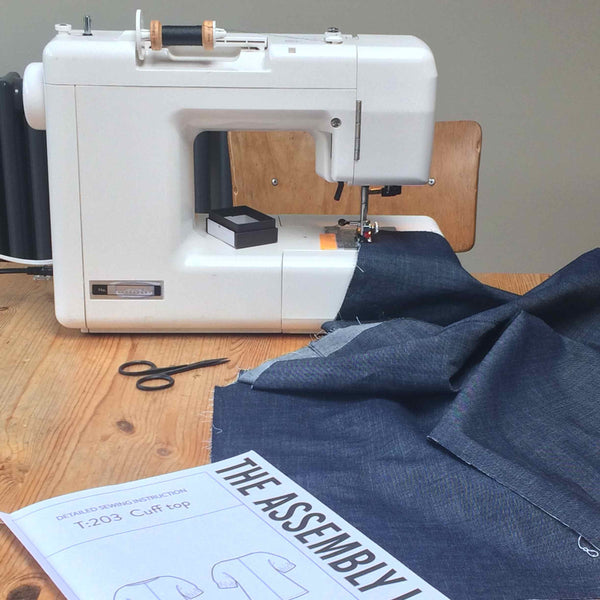 The Assembly Line Cuff Top Sewing Pattern in Draper Denim