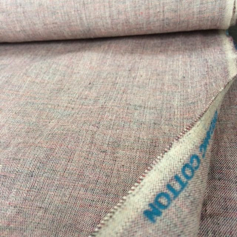 100% Organic Cotton Crossweave Fabric Burgundy Marl