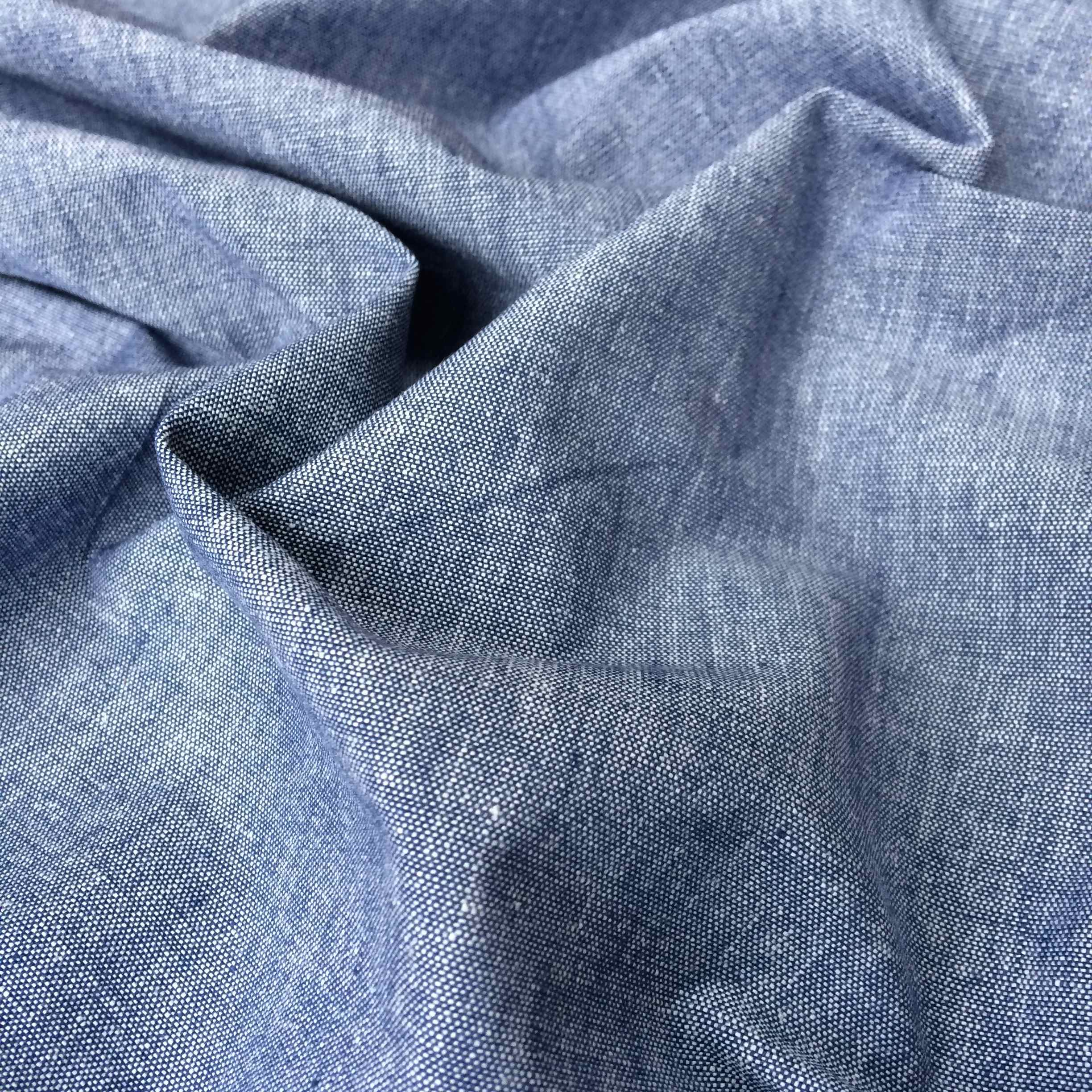 100% Organic Cotton Crossweave Fabric Mid Blue